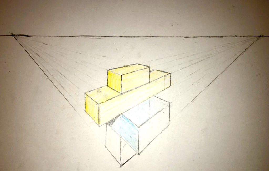 drawing of Legos in 2 point perspective