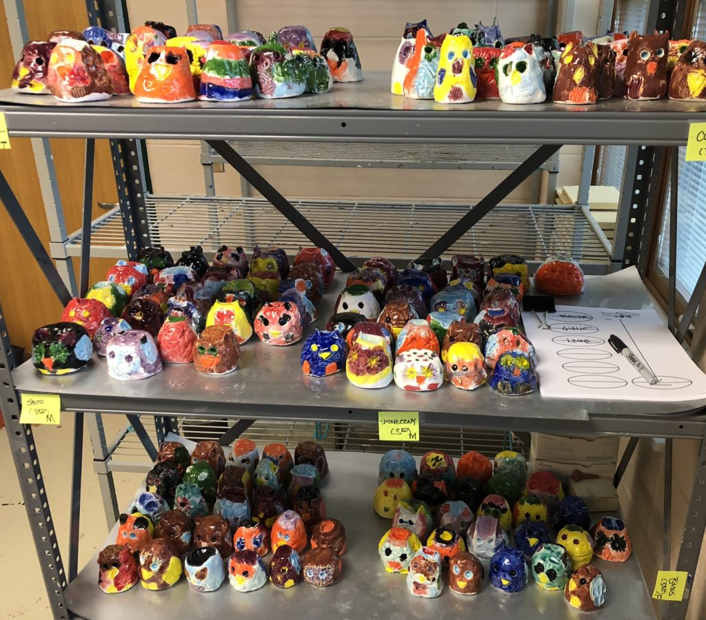 Photograph of glazed clay owls