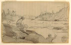 Drawing, Men Fishing with a Rod and Net, ca. 1897