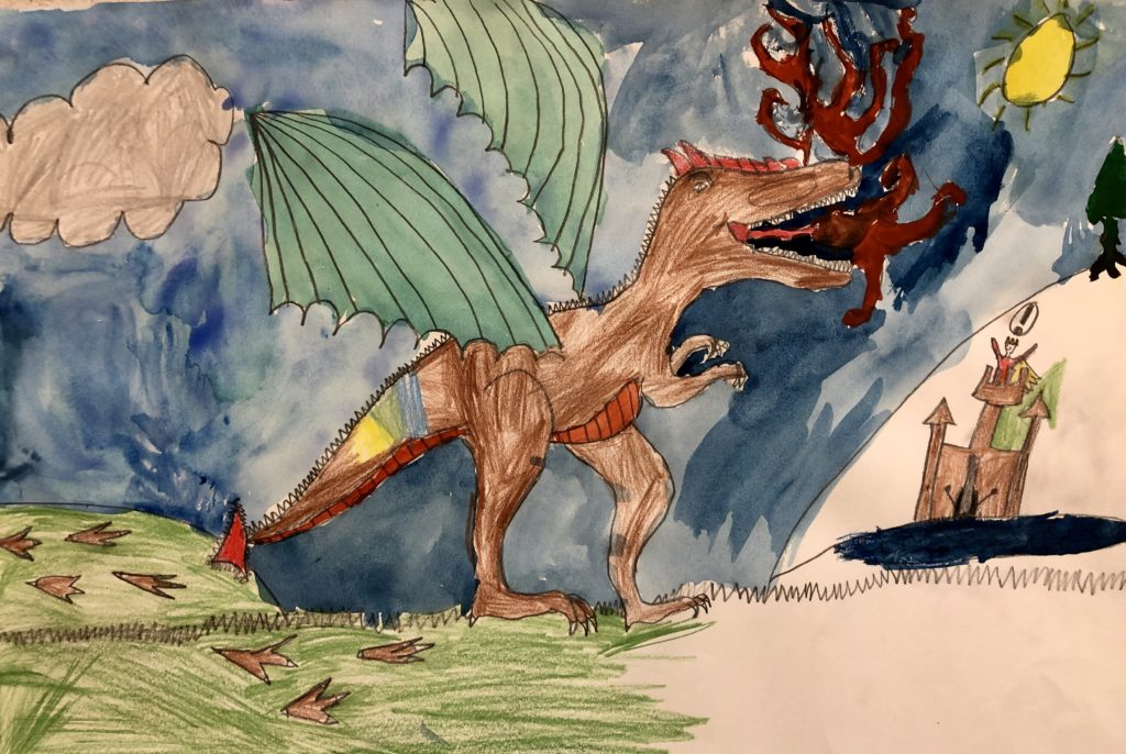 Student watercolor of dragon