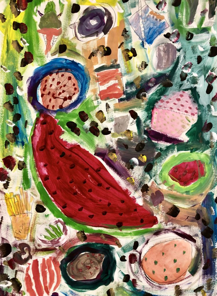 Student acrylic of food items